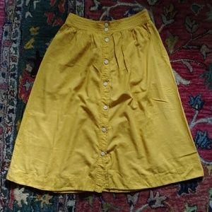 Madewell yellow button skirt